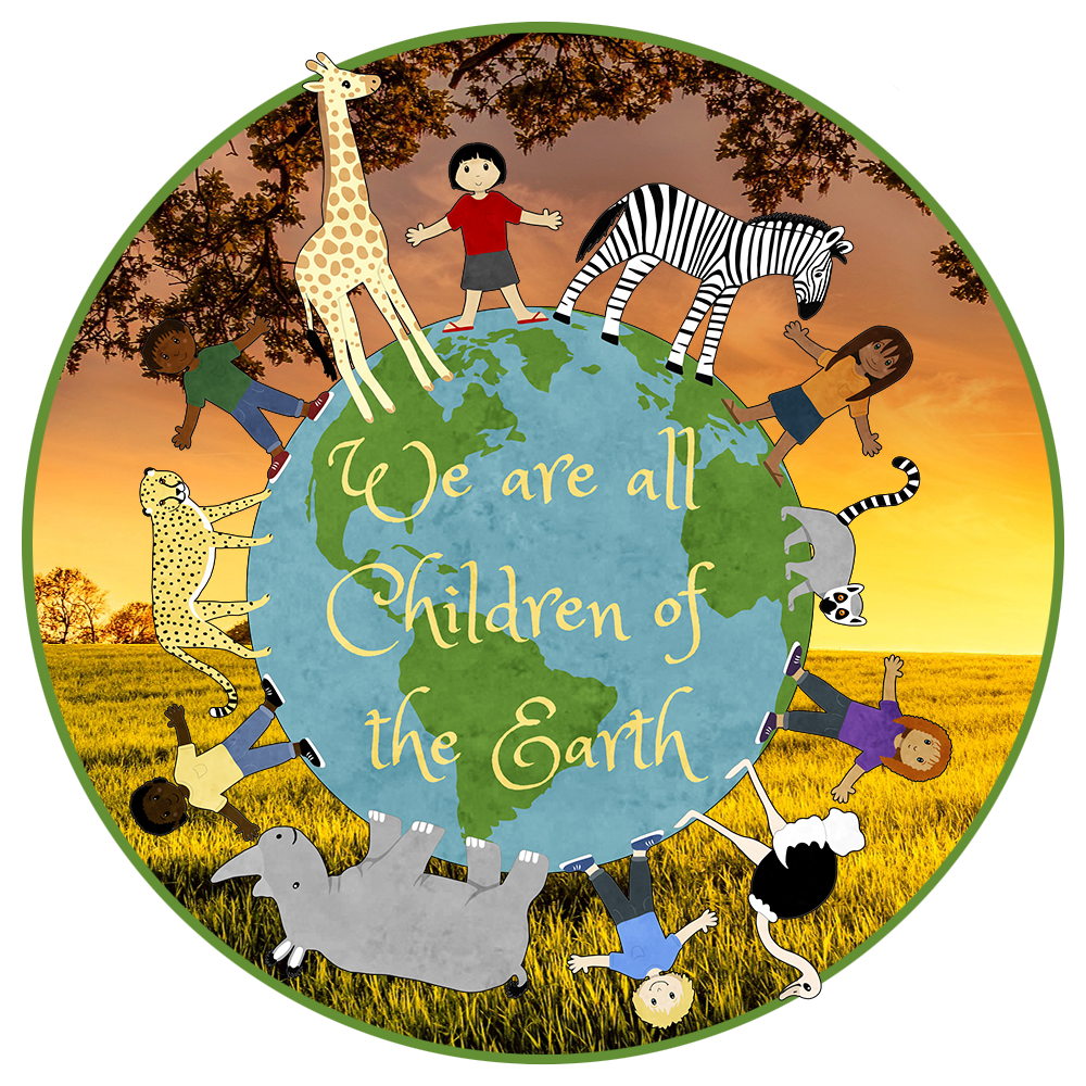 We are all children of the earth (African animals and children standing on a globe)