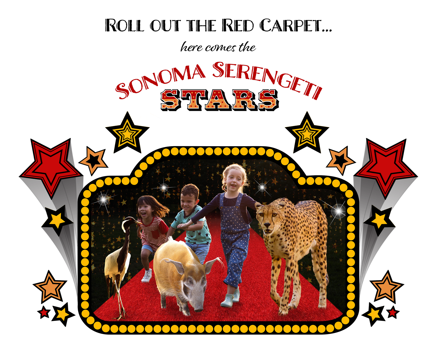 2021 Fundraiser image, Roll out the Red Carpet... here come the Sonoma Serengeti Stars
